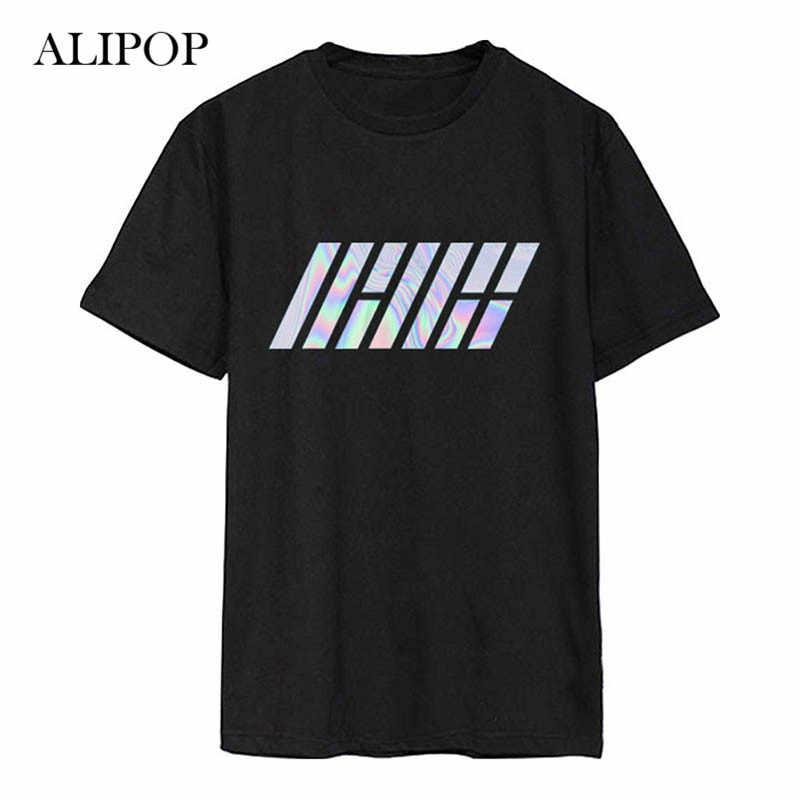 ALIPOP Kpop álbum Ikon impresión láser camisas Hip Hop ropa holgada casual Camiseta de manga corta Tops camiseta DX502