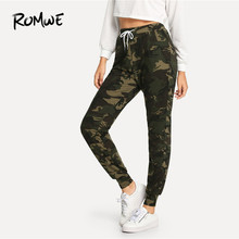 117c9def63a ROMWE Pocket Drawstring Waist Camouflage Pants Womens Autumn Women Fashion  Clothing Bottoms Female Spring Casual Trousers