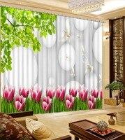 高品質カスタム 3D カーテン植物の花、白鳩やリビングルームの窓のカーテン