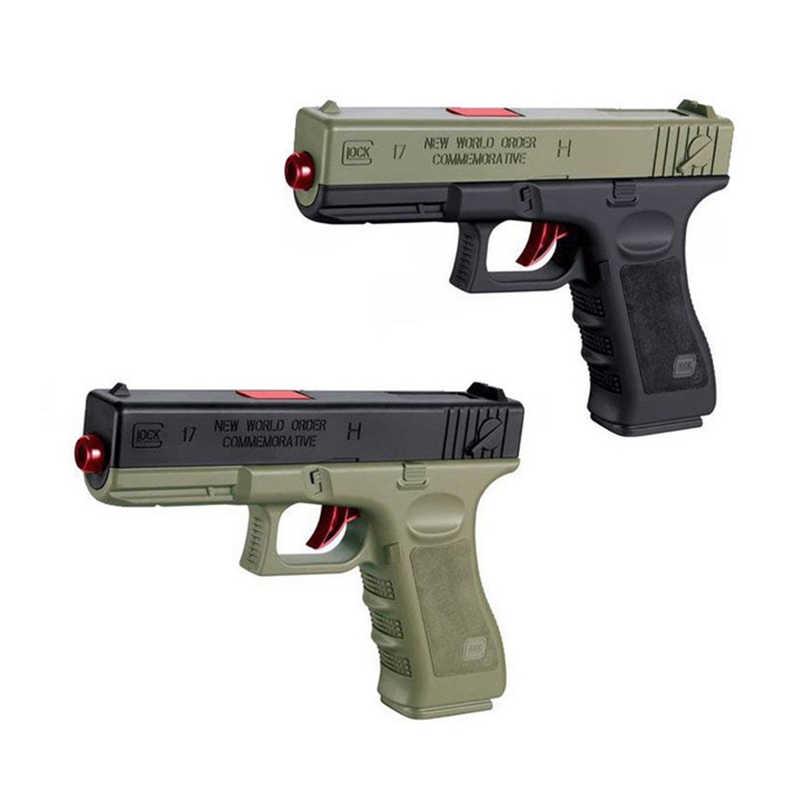 2 adet plastik jel tükenmez tabancası Glock 17 1911 su mermi erkek oyuncak tabanca silah tabanca aksesuarları tabanca kılıfı açık oyun çocuklar hediyeler