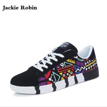 2018 nouvelle marque hommes chaussures décontractées mode bonne qualité Graffiti chaussures homme chaussures plates mode daim chaussures à lacets