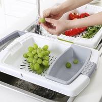 Multifunction Drain Storage Basket Home Kitchen Fruit And Vegetable Classification Storage Tank Plastic Retractable Drain Basket
