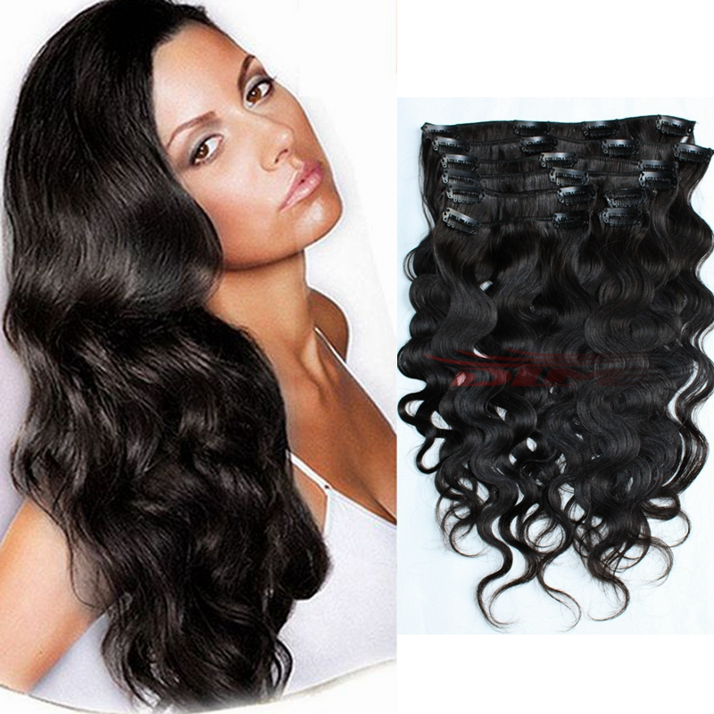 Strong Clips 8a Remy Human Hair Clip In Wavy Hair Extension 200g