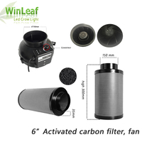 6 Inch Centrifugal Fans&Activated Carbon Air Filter for GreenHouse Grow Tent Hydroponic LED HPS/MH Grow Light