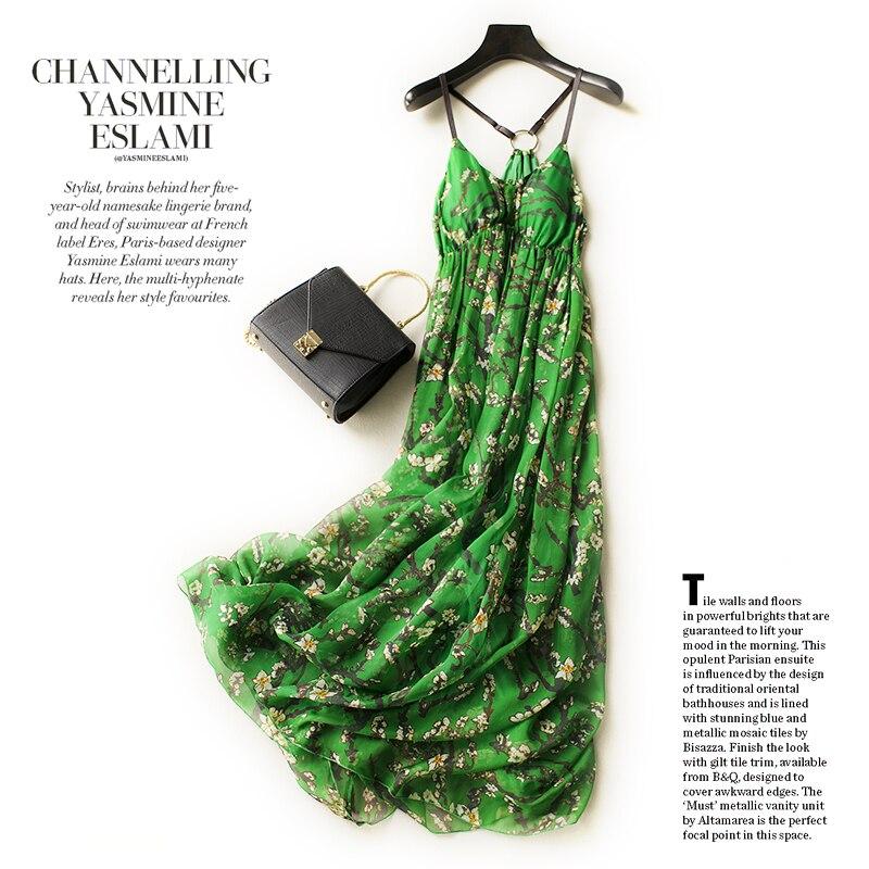 green pure silk dress long