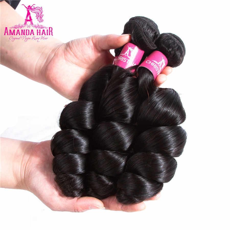 Аманда свободная волна пучок 100% Remy накладки из волнистых волос для салона бразильские Свободные волны человеческие волосы для наращивания длинные волосы PCT 3 шт