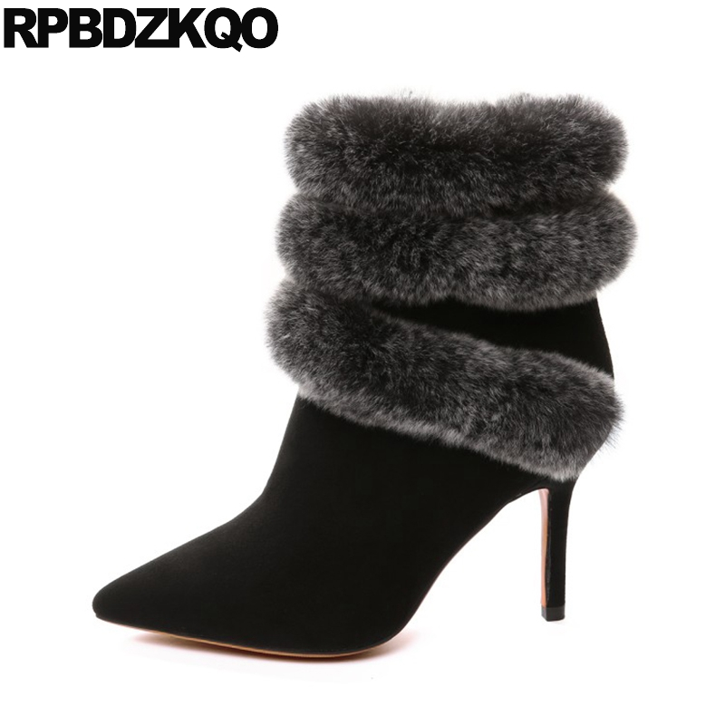 Suede Stiletto Sheepskin High Heel Real Fur Shoes Luxury Sexy Ankle Furry Black Brand Women Winter Boots Genuine Leather Pointed 2018 women fur slippers luxury real fox fur beach sandal shoes fluffy comfy furry flip flops