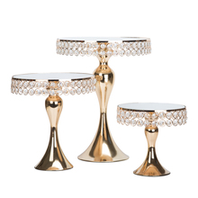 1pcs-5pcs Gold Crystal cake stand set Electroplating gold mirror face wedding