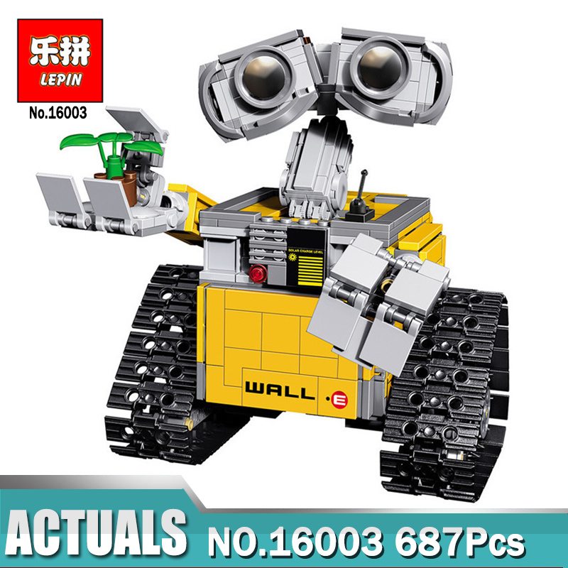 Lepin 16003 Ideas set 687pcs Robot WALL E Building Blocks Bricks Toys for Children Birthday Gifts Compatible Legoinglys 21303 lepin 687pcs building blocks toy robot wall e diy assemble figure educational brick brinquedos for children compatible legoe