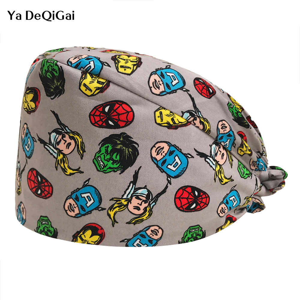 Women Surgical Caps For Nurses Pattern Operating Room Surgery Scrub Hats One Size Tie Back Surgeon Hat Nurse Medical Surgery Cap