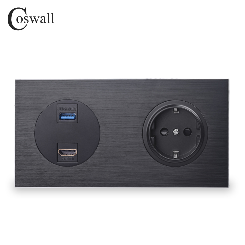 Coswall Luxurious Black Aluminum Panel HDMI 2.0 USB 3.0 Port 16A EU Standard Wall Power Socket Outlet Grounded R12 Series
