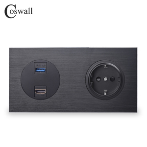 Image 1 - Coswall Luxurious Black Aluminum Panel HDMI 2.0 USB 3.0 Port 16A EU Standard Wall Power Socket Outlet Grounded R12 Series