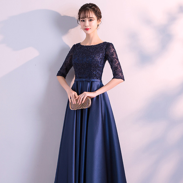 DongCMY New 2019 Long Formal Evening Dresses Elegant Lace Satin Navy Blue Vestidos Women Party Gown 4