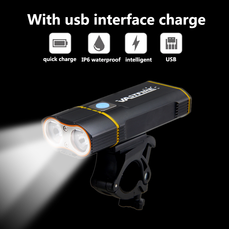 6000LM Rechargeable Handlebar Bike Light 2X XM-L2 LED Front Bicycle Headlight with Built-in 6000 mAh Battery +Mount +Taillight