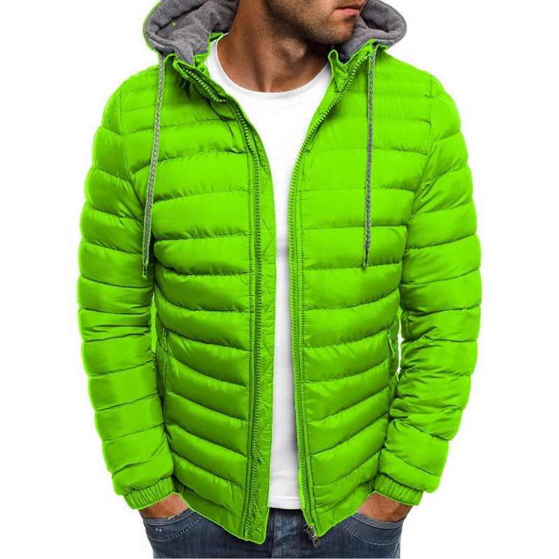 2019 秋メンズ軽量フード付きジャケット冬暖かいパーカーコートストリートストライプ固体ジッパーポケットパーカー男性服