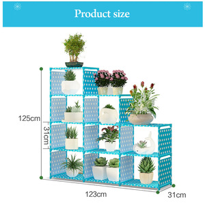 Image 2 - Multi layer Storage Shelf Stainless steel nonwovens bookshelf Simple Assembly can be removed Bedroom Flower pot rack