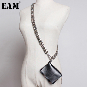 Image 1 - [EAM] 2020 New Spring Summer Pu Leather Mini bag Chain Split Joint Personality Women Long Accessories Fashion All match JU458