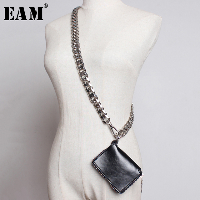 [EAM] 2020 New Spring Summer Pu Leather Mini bag Chain Split Joint Personality Women Long Accessories Fashion All match JU458