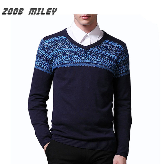 New Men's Clothing 2016 V-neck Sweater Casual Knitted Warm Pullovers Stripe Printing Plus Size M-XXL Fashion Men Jumpers Jerseys
