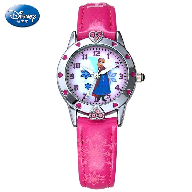 Disney brand children s wrist watch Boy girl cartoon Frozen 30m waterproof quartz watch Leather watch