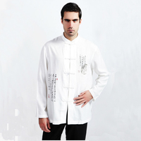 White Chinese National Men Kung Fu Shirt Male Long Sleeve Tai Chi Shirt Top Casual Hombres