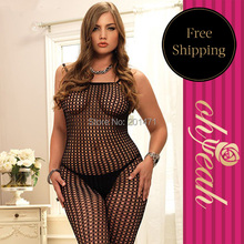 Fishnet hot sexy plus size bodystocking  see through sexy lingerie