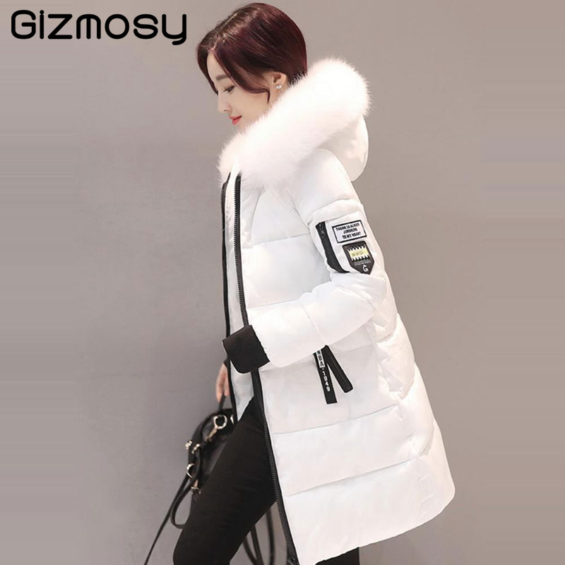 Winter Jacket Women Fur Collar Hooded Parka Jackets Female Thicken Winter Coat Plus Size Long Cotton-Padded Warm Outwear SY1634 bjcjwf 2017 winter jacket women wadded long parkas female outerwear hooded coat cotton padded fur collar parka thicken warm 1pc
