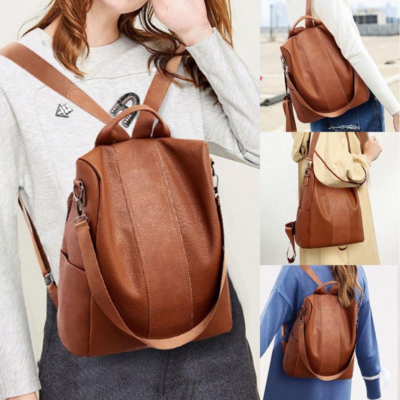 Adisputent Women Backpack Purse  PU Leather Backpack Lightweight Casual Travel Backpack Waterproof Anti-theft School Bag