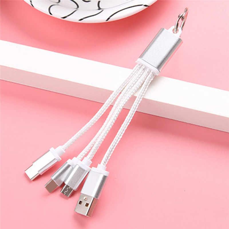 3 ב 1 USB מטען כבל USB כבל מתכת Keyring מיקרו USB נתונים כבל מטען מפתח שרשרת כבל עבור IPhone עבור אנדרואיד