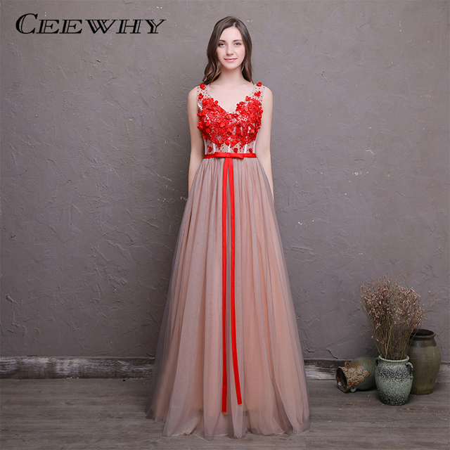 CEEWHY Vintage V-Neck Formal Dress Special Occasion Party Robe Soiree Long Evening  Dress Embroidery Banquet Evening Gown a860be08fea3