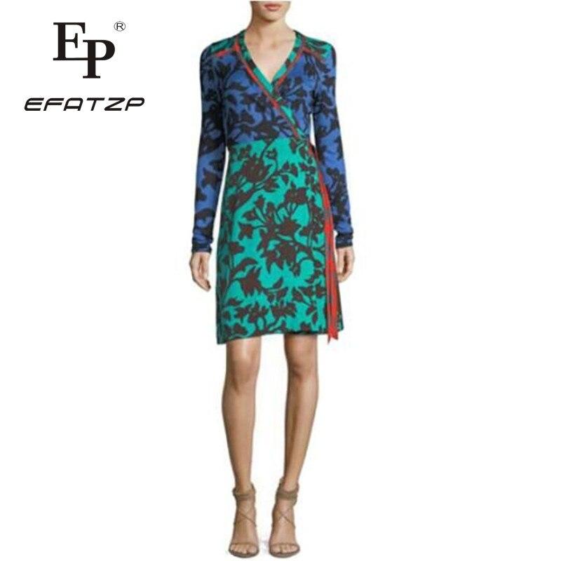 New 2018 spring Fashion Designer Dress Women s Long Sleeves V Neck Print XXL Stretch Jersey