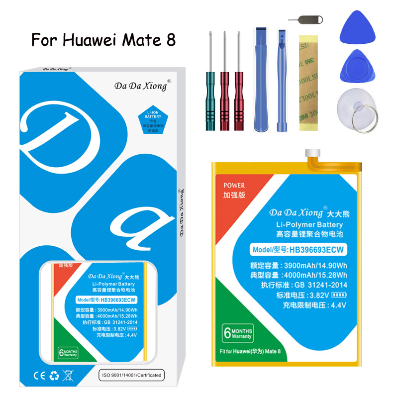 Original Da Da Xiong Lithium Polymer Battery HB396693ECW For Huawei Mate 8 4000mAh Replacement Mobile Phone BatteryFree tools in Mobile Phone Batteries from Cellphones Telecommunications