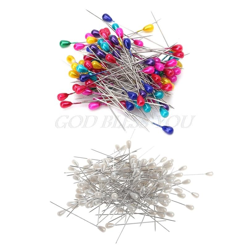 144pcs  set extra long pearl head dressmaking pins wedding corsage florists sewing diy tool