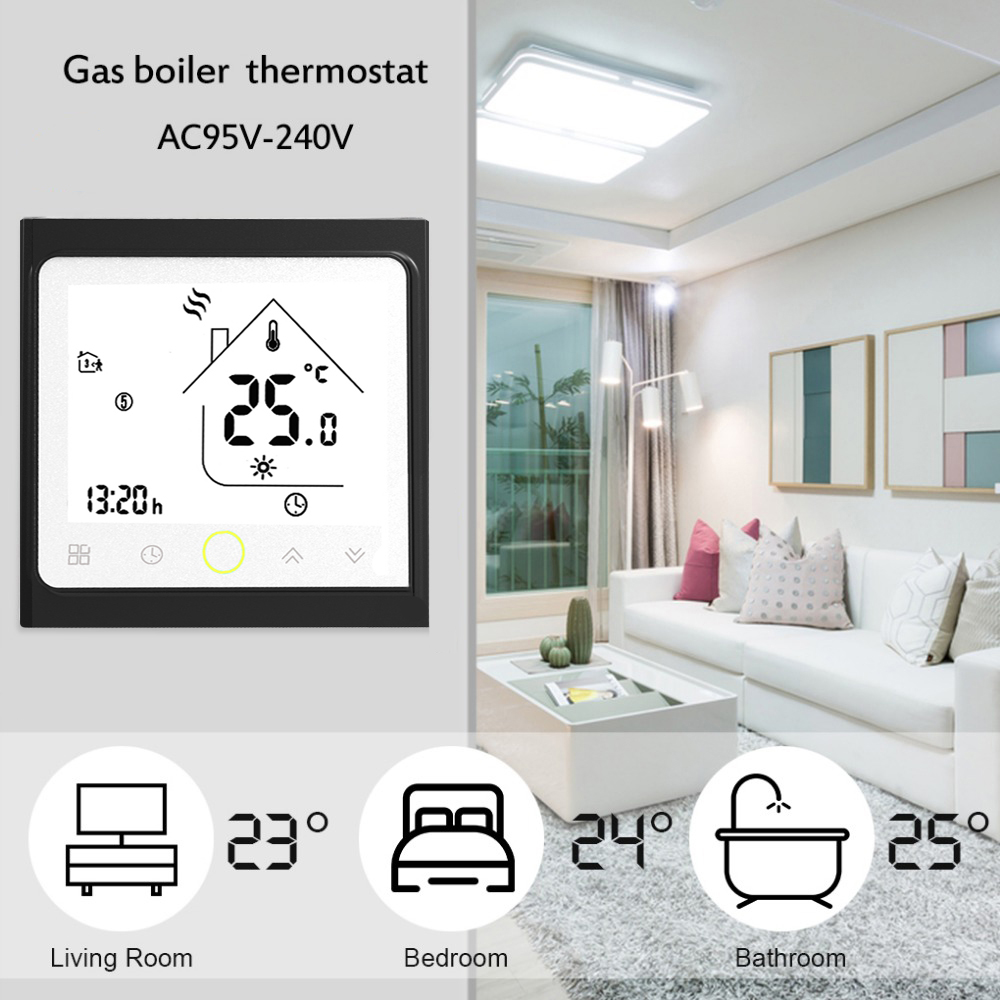 Programmable Thermostat Water/Gas Boiler Heating Thermostat LCD Touch Screen Thermoregulator Room Temperature Controller 3A wireless programmable room heating thermostat for electric heating panel radiator actuator gas boiler digital temperature screen