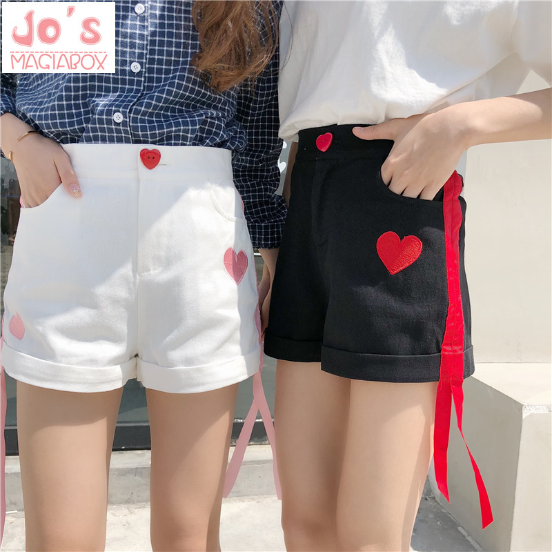 2019 Love Print Embroidery Shorts Sweet Japanese Style Button Loose Short Pants Summer Kawaii High Waist Shorts With Pockets