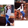2017 Fashion Solid Black % Blue Jeans For Girls Casual Regular Kids Children's Jeans Light Wash Trousers Pants For Girls p132