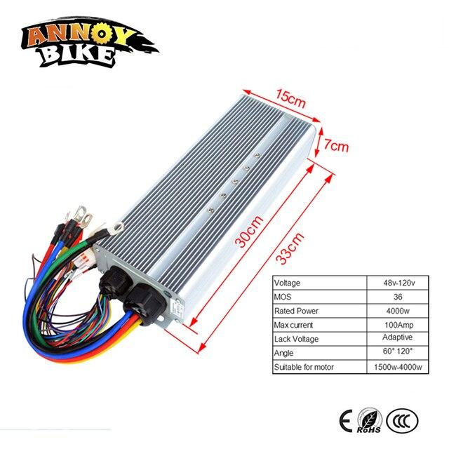 Contrôleur de moteur de moyeu Ebike Controller48v 60V72V84V96V120V 4000 W 4kw 36MOS courant 100Amp Corrente Bicicleta moto électrique