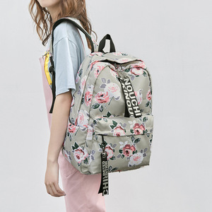 Image 2 - 패션 방수 나일론 여성 배낭 꽃 인쇄 여성 학교 배낭 소녀 일일 대학 노트북 가방