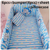 2016 6PCS Baby Girl Bedding Set Blue Quilt Nursery Cot Crib Bedding Bumpers Sheet Pillow Cover
