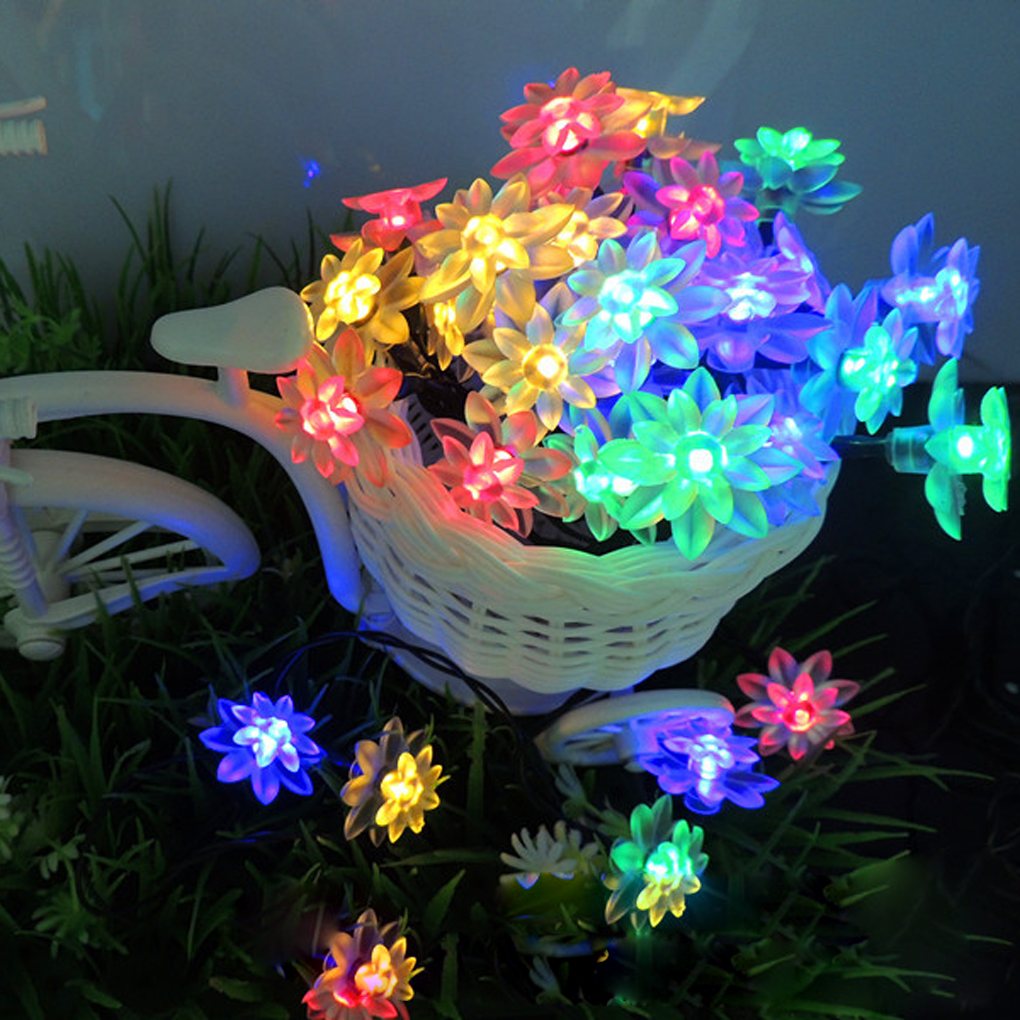 50 светодиодов на солнечных батареях двойной цветок лотоса лампы строка огни на Рождество синий ...