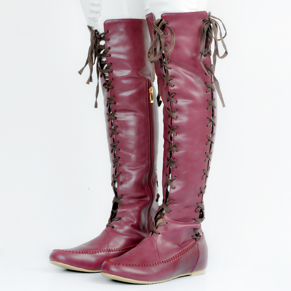 lace up over the knee boots PU flat boots fashion women Spring/Autumn 2017 size 13 Round Toe Rubber sole Sexy party shoes Solid