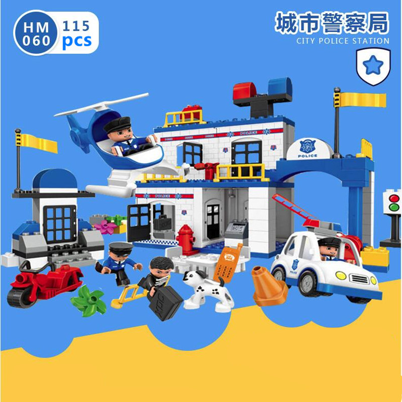 DIY Big City Series Police Station Fire Station 3D Model Building Blocks Bricks Toy Compatible With