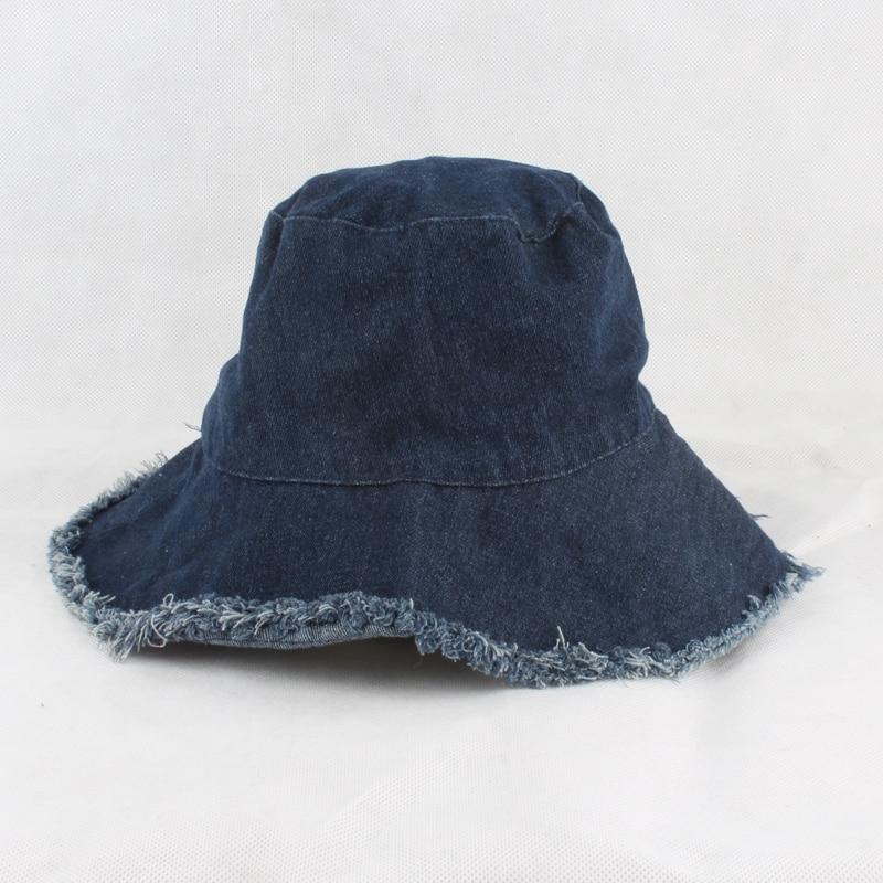 Summer Washed Denim Sun Hat Women Fashion Tassel Floppy Bucket Cap ... 4b4495d99646