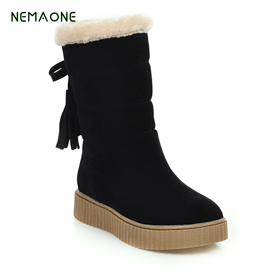 NEMAONE Women winter snow boots warm short plush ankle boots for women Round Toe winter shoes student footwear warm women winter boots women ankle snow boots cowhide sweet flowers round the end of short barrels bread shoes mianxie