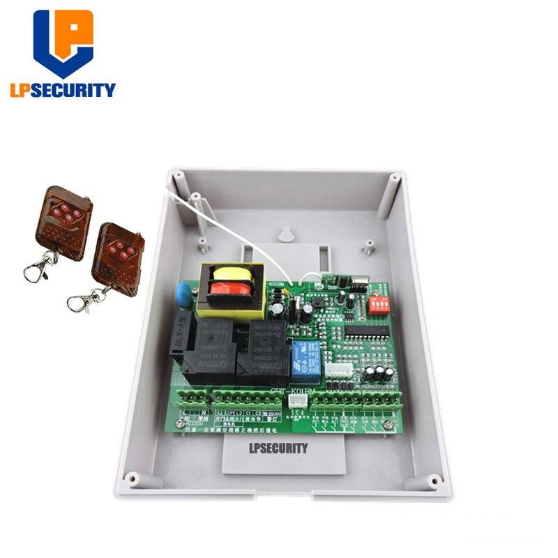 Güvenlik ve Koruma'ten Elektrikli Kapı Kontrol Sistemi'de LPSECURITY AC220V Uyumlu ana denetleyici sürgülü kapı açacağı için/motor için raylı geri çekilebilir kapı/2 vericiler title=