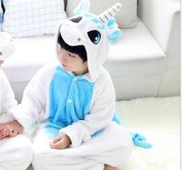 Zima Cute Cartoon Zwierząt Unicorn Pegasus Piżamy Flanelowe Kid Piżamy Dla Kid Unicornio Licorne Z Kapturem Z Długim Rękawem Dla Dzieci