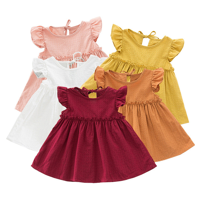 LILIGIRL Ruffle Sleeve Kids Summer Dress For Girls Blouses Tops Linen Elegant Princess Party Dresses 2019 Baby Shirts Clothes