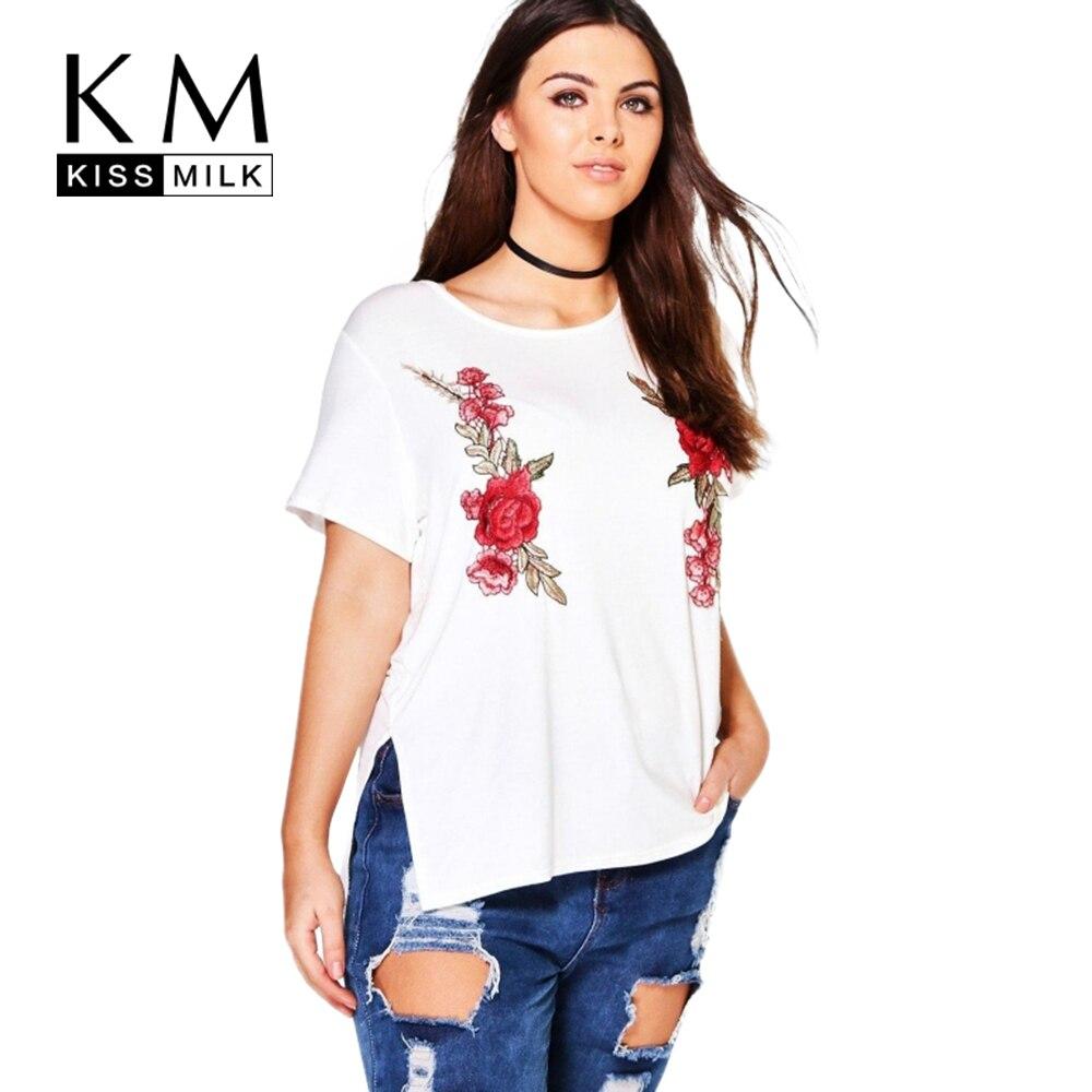 Kissmilk Plus Size Rose Embroidery O Neck Short Sleeve T -2958