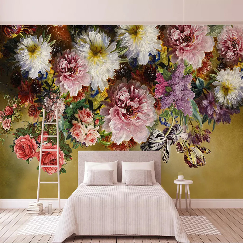 Custom Any Size 3D Wall Mural Wallpaper Painting European Style Retro Hand Painted Floral Flowers Living Room Sofa Bedroom Decor