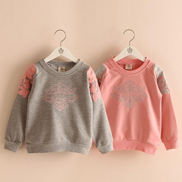 Baby girl embroidery sweatshirt  children's autumn winter girls plus velvet thickening outerwear baby girl long sleeve t shirt